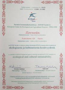 Iloranta sai Suomen luomumatkailuyhdistyksen sertifikaatin